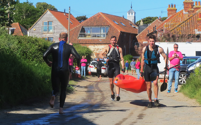 Transition from swimming to kayak race