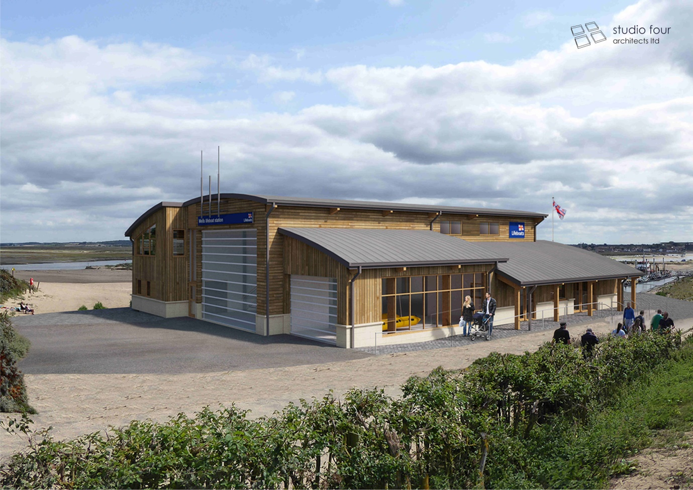 Artist's impression of the new boathouse on the end of the beach bank