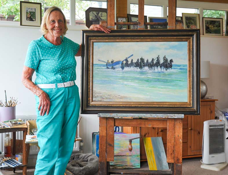 Artist Shirley Carnt with the new painting