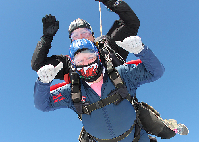 Jill Scillitoe skydiving for the Wells Shannon Lifeboat Appeal in May