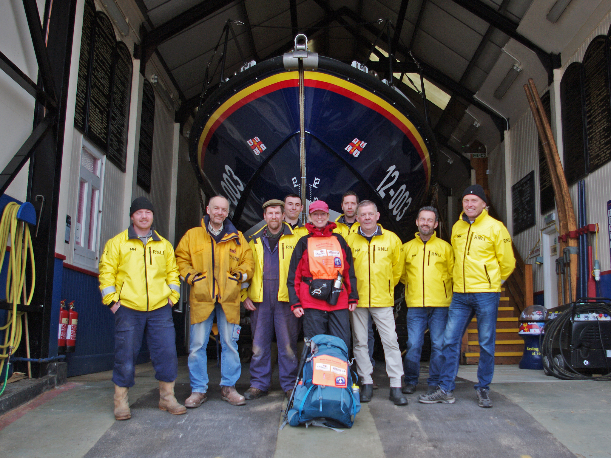 Beth Foot Forward (centre!) meets some of the crew at the boathouse, 9/3/20