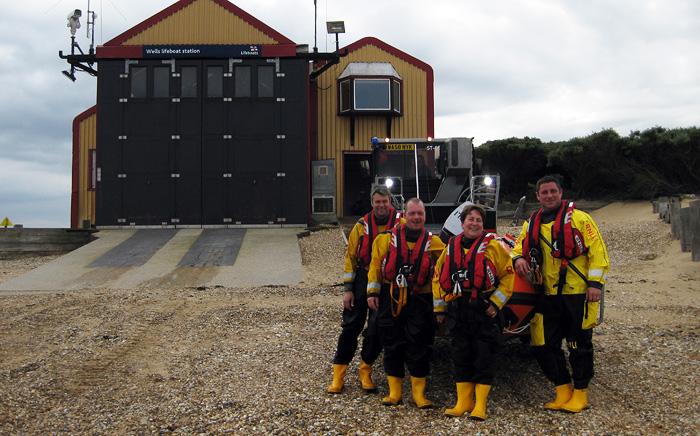 Helmsmen Mark Emerson, Mark Frary and Ross Fulford with Jayne Wilcox and our new lifeboat 'Peter Wilcox'