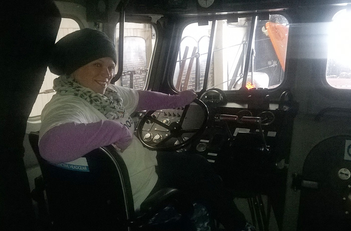 Hazey tries the helm on the all-weather lifeboat