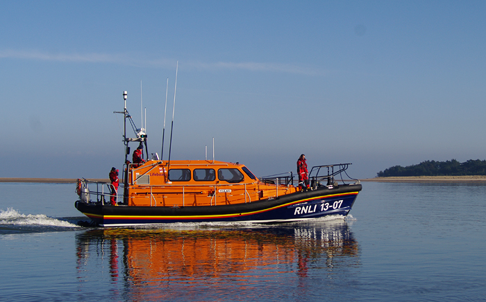 Relief Shannon-class lifeboat 13-07 making a brief visit to Wells (5/2/17)