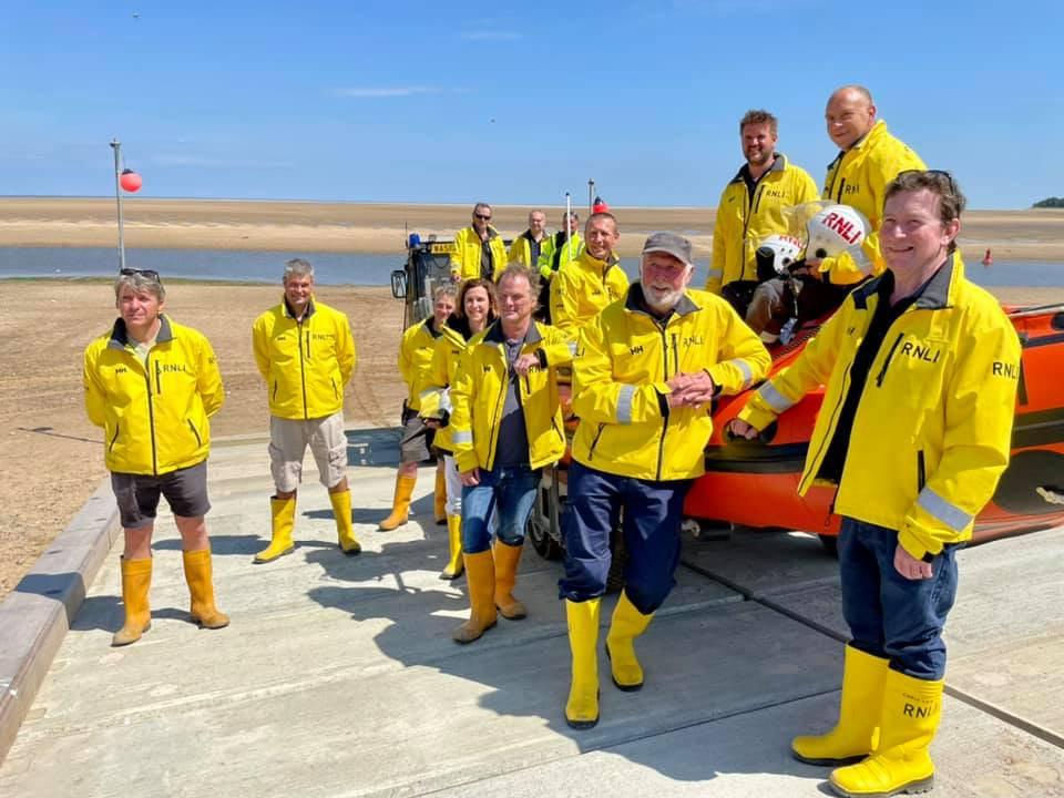 Crew and inshore lifeboat on the new ramp at the launch of Launch A Memory Wells