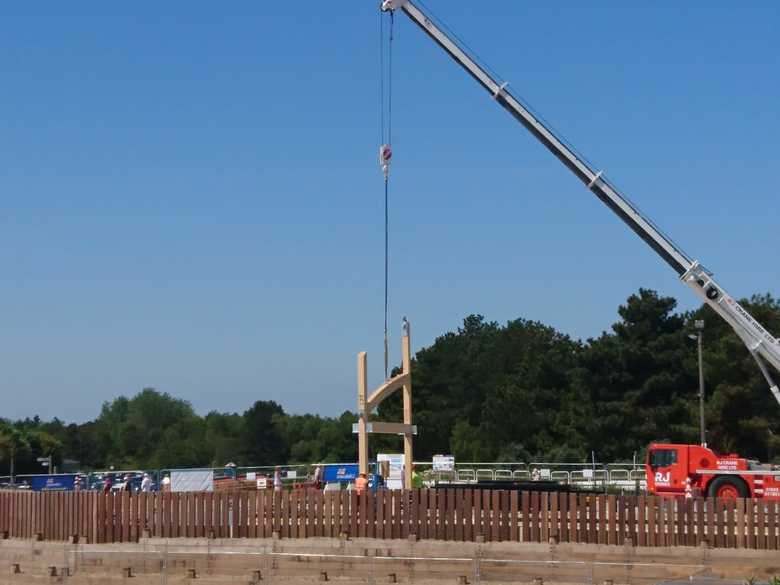 First part of the frame for the new boathouse being lifted into place