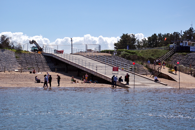 Beach reopened to the public and the new ramp already providing a sitting spot and some shade