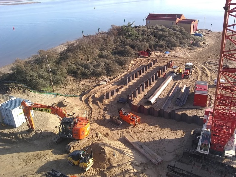 View from crane of site east towards existing boathouse