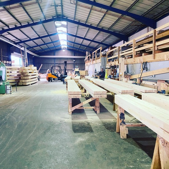 Beams being prepared at Buckland Timber in Devon