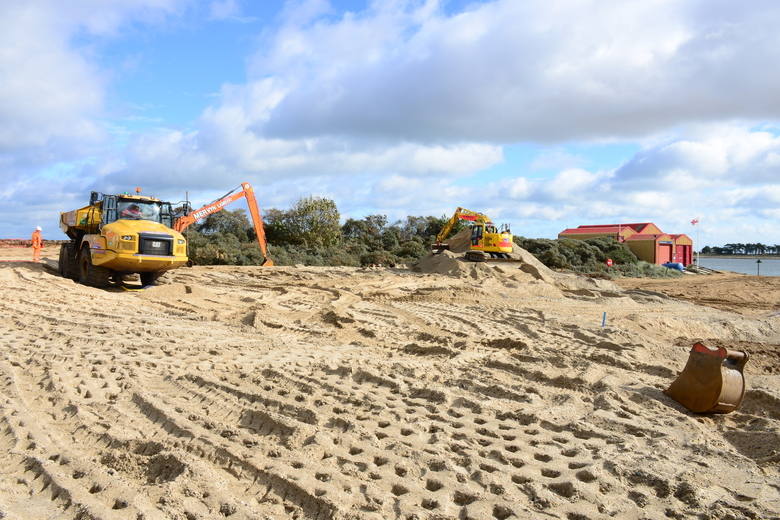 Good progress on placing dredged fill material to bring site up to level in preparation for piling, 24/9/20