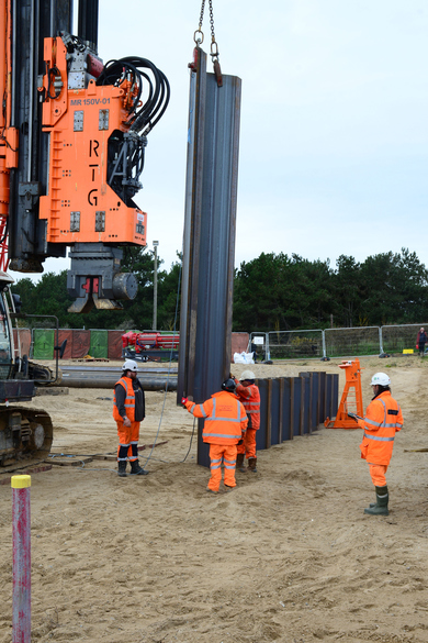 Sheet piling for the ILB ramp