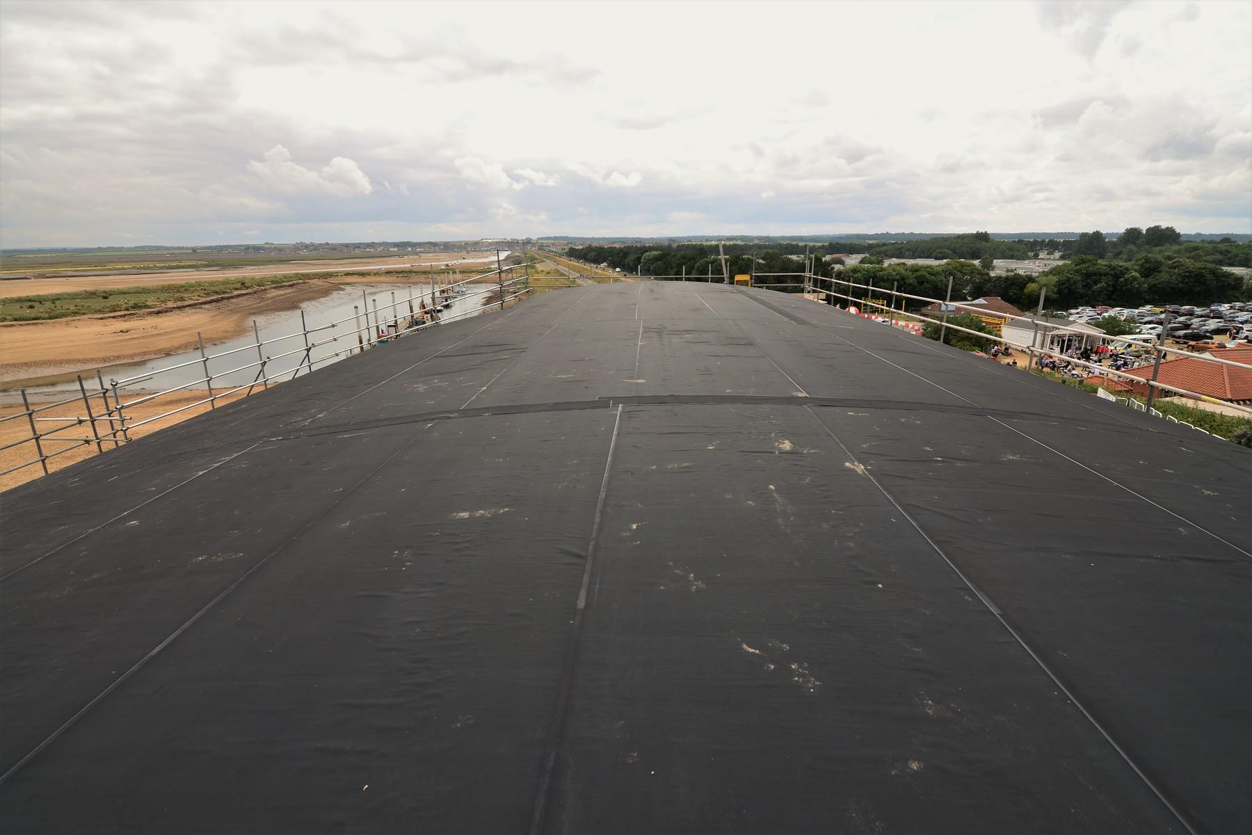 Weatherproof membrane on tjhe main roof