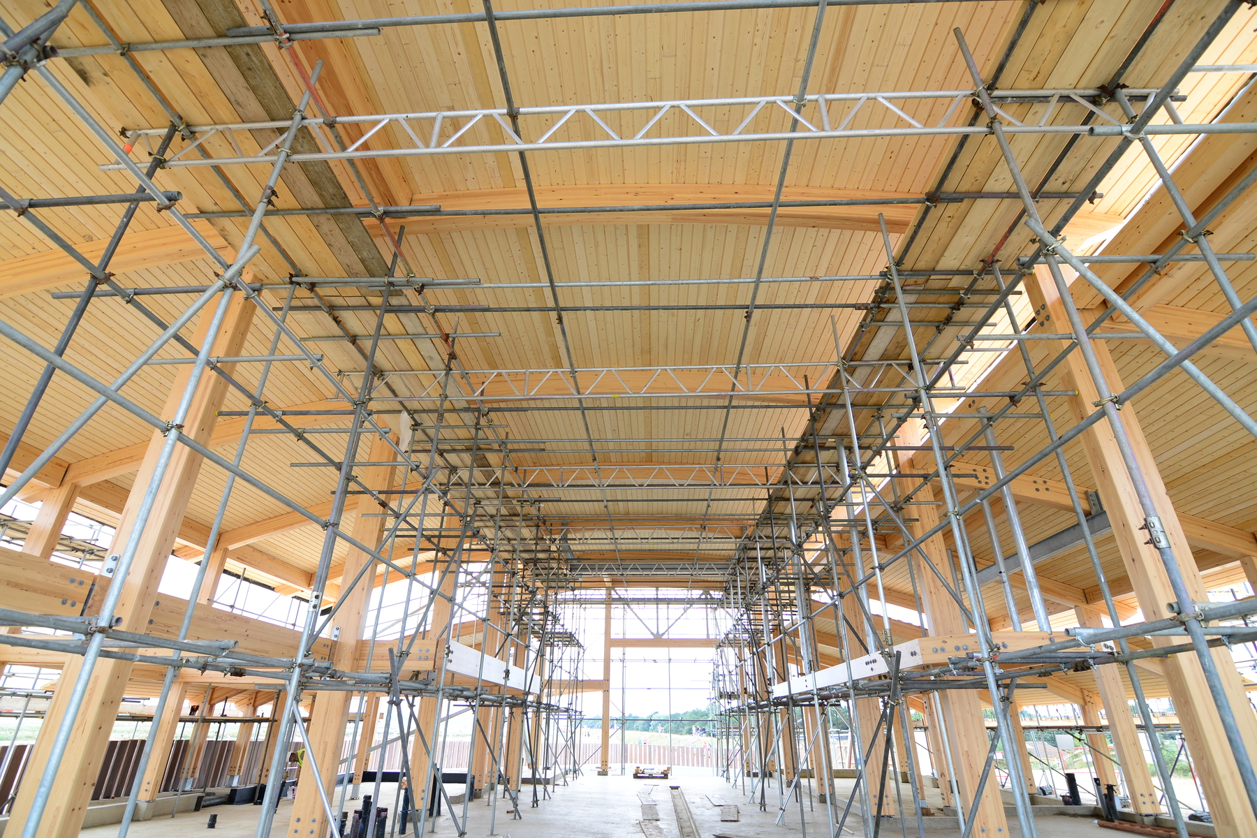 Boat hall with planked roof emerging from the scaffolding