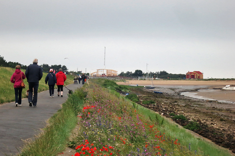 View from along the beach bank