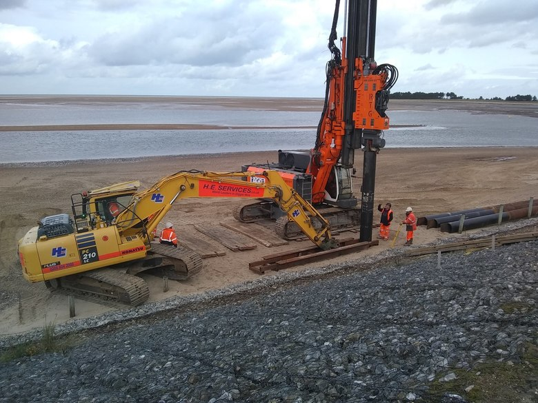 First pile for the ramp being driven into the beach, 9/10/20