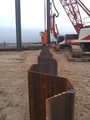 Sheet piling being added around the boathouse site