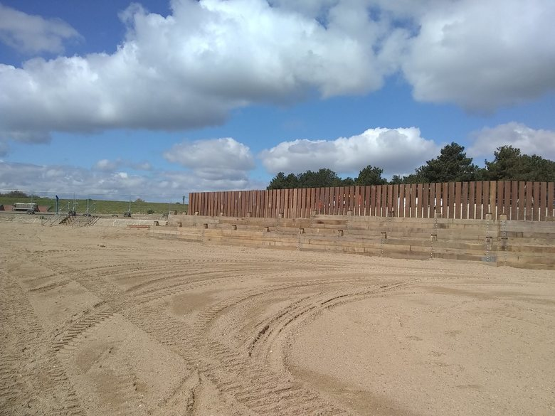 Levelled beach beyond the new lifeboat station