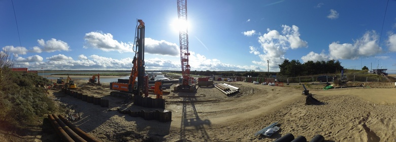 Main site with start of sheet piling for ILB ramp