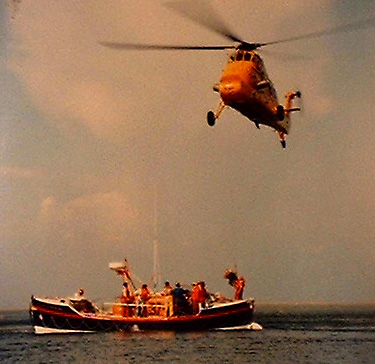 AF Air Sea Rescue Wessex helicopter working with the Ernest Tom Nethercoat