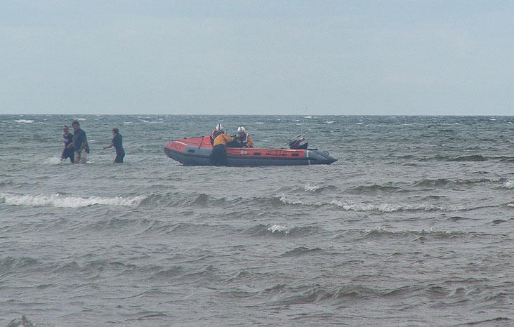 Riders brought ashore