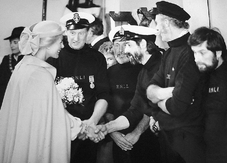 HRH Duchess of Kent visits the lifeboat station, 1980