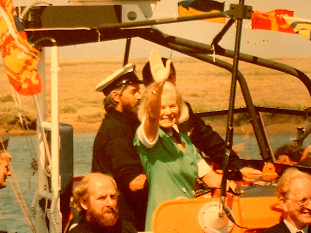 HRH Duchess of Kent aboard the Doris M Mann of Ampthill, 1990