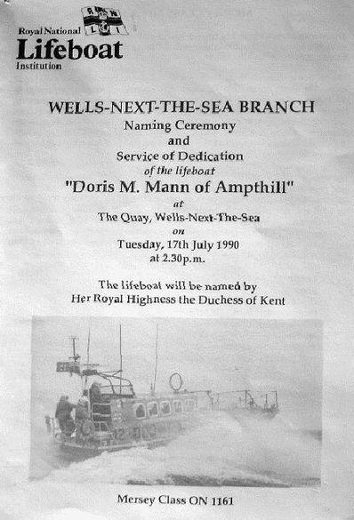 Poster for naming ceremoney for Doris M Mann of Ampthill
