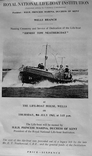 Poster for naming ceremony for Ernest Tom Neathercote, 1965