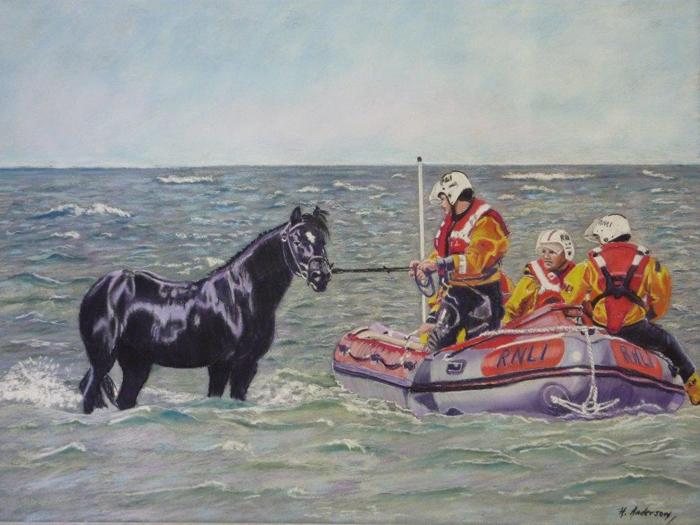 Helena Anderson's painting of the 2006 rescue of a horse and two riders cut off by the tide