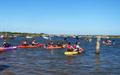 Superhero 2015 - start of 4 mile kayak leg leaving Burnham Overy Staithe
