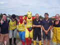 Great Superhero runners with members of Wells lifeboat crew (29/8/15)