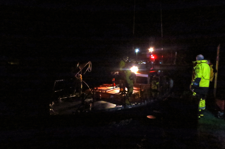 Wells lifeboat leaving the outer harbour at 05:55, after refuelling and a crew change