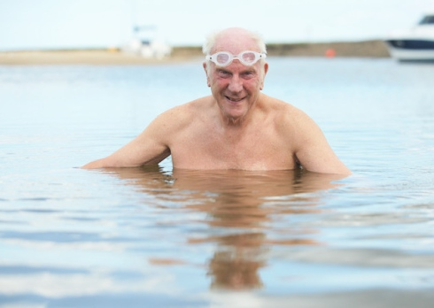 Alan Jackson of Wells - part of a cross channel swimming team