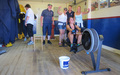 Cheering Amy Emerson on at her sponsored 10lm row in the ILB shed