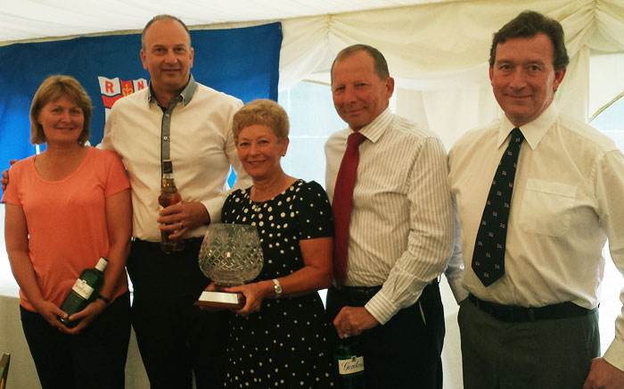 Golf Day winners (l-r): Lindsay Woods, Kevin Pratt, Liz and Bernie Vaughan, with Wells Lifeboat Operations Manager Chris Hardy