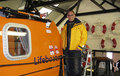 Matt Hawkes at the lifeboat station before setting off on his fundraising bike tour
