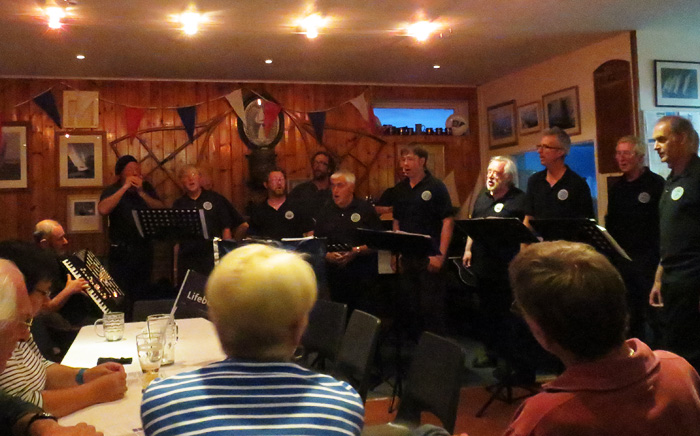 Nelson's Shantymen entertaining at Wells Sailing Club, 5 July 2014