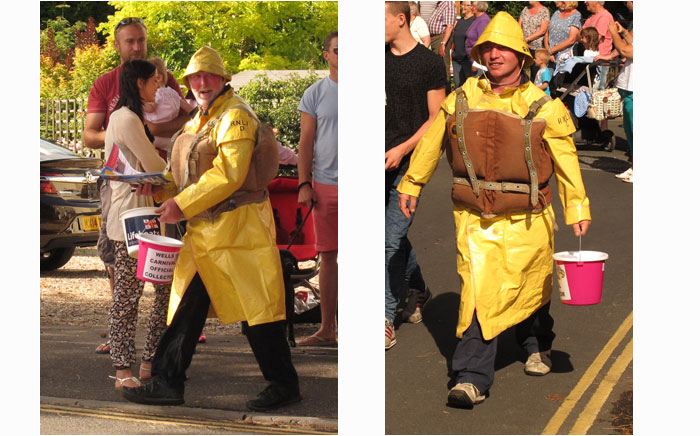 Crew members Fred Whitaker and Mark Frary collecting in vintage kit in the carnival parade
