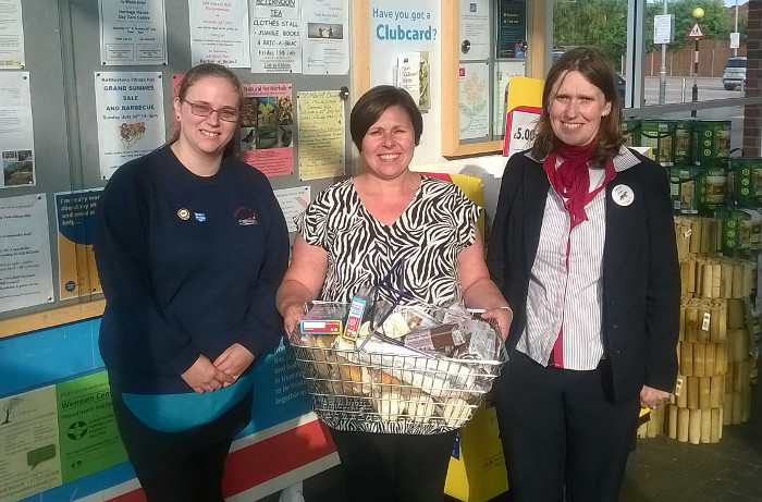 Our guild secretary Amanda with Sarah and Sue from Tesco, Fakenham and a donation of supplies for our open day, 14/7/16