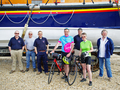 Jon & Claire Davies meet crew members at Wells after cycling from London to Wells for the Lifeboat fund