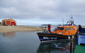 Shannon class lifeboat 13-07 departing Wells outer harbour en-route to Lowestoft