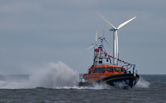 Skegness' new Shannon class lifeboat 13-17 arriving in Skegness on 28th January