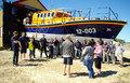 Angie Raimondo and Jenny Williamson from Fakenham Darts League meet with the lifeboat crew, 30/6/18