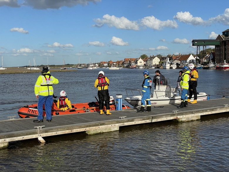 ILB and speedboat back at the quay with local coastguard in attendance, 10/5/21