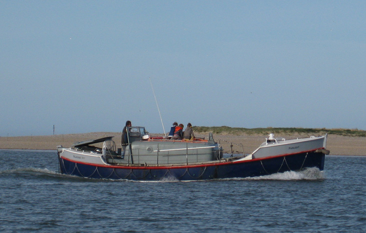 Former Hastings lifeboat, Oakley class 37-06 <I>Fairlight</i> at Blakeney point, April 2010
