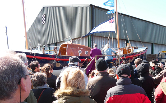 Lucy Lavers relaunch ceremony at Rescue Wooden Boats, Stiffkey (11/4/15)