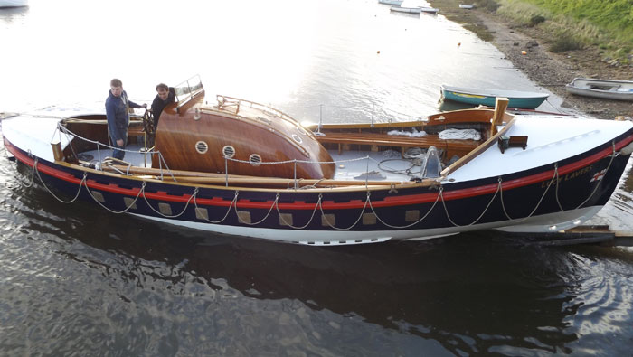 Launching newly restored ex-Aldeburgh No 2 lifeboat and Dunkirk Little Ship Lucy Lavers, 4 May 2015