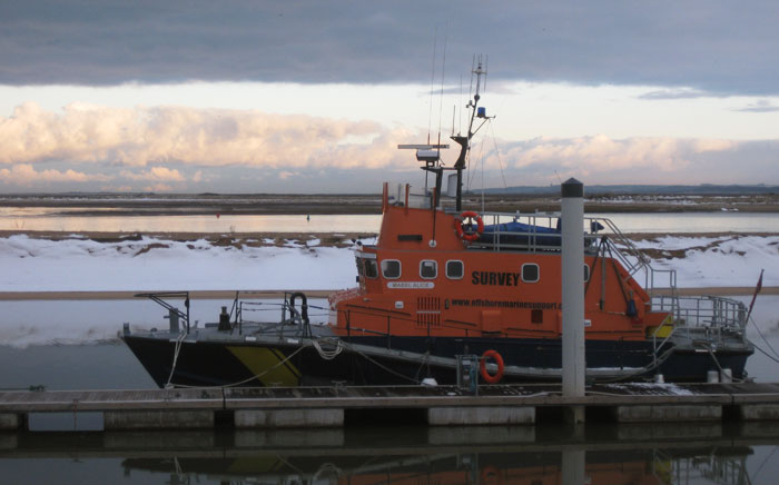 Ex-Penlee Arun class lifeboat Mabel Alice, now a survey vessel, in the outer harbour, January 2013