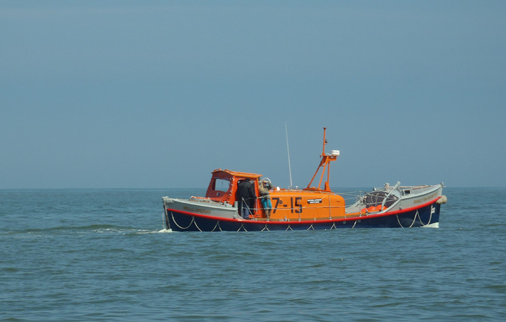 Restored Oakley class 37-15 <I>Ernest Tom Neathercoat</i> at sea off Wells fairway, 19 May 2013