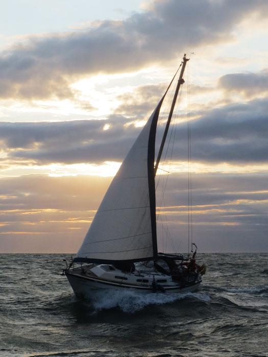 Amigo under sail heading towards Wells, 16 August